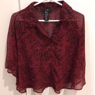 Forever 21 Blouse Red Leopard Print