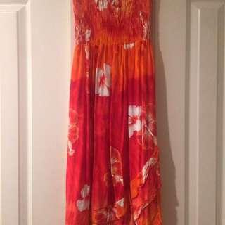 Orange and Red Beach Dress