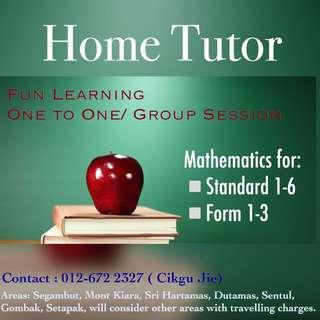 Home Tutor (Mathematics Tuition)
