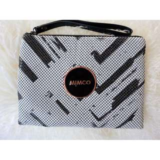 Mimco Medium Pouch - Black, White, Rose Gold