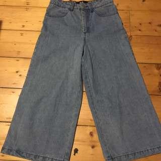 Dotti Wide Leg Jeans Pants Culottes Denim Size 6