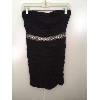 Forever 21 Black Strapless Gem Dress Size Small