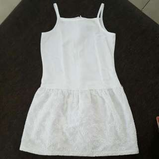 *Preloved* Big & Small Co. White Dress w/ Embroidered Skirt - Like NEW!