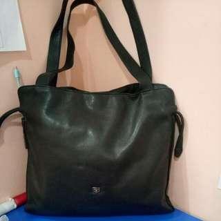 Genuine Leather Black Bag Santa Barbara Polo Club