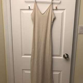 Beige Vneck Dress With Side Slit