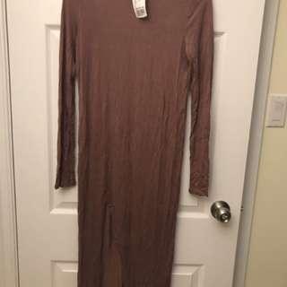 Pink Long Slide Slit Dress