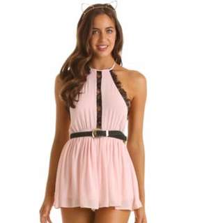 LucyInTheSky Pink Backless Playsuit