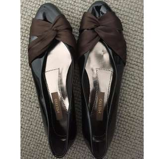 Dark Brown Flats with Brown Bow