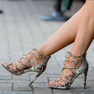Aldo Genuine Leather Snake Skin Print Heels