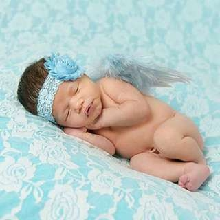 New Born Angel Wings With Matching Headband