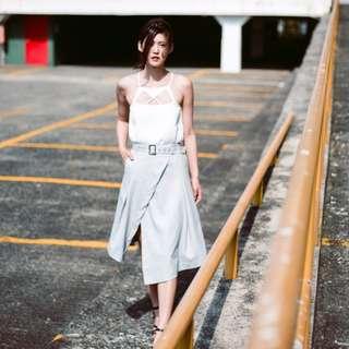 [FABFAD] Starstruck Midi Wrap Skirt - Grey
