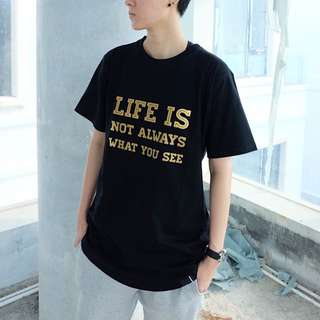 Kaos Hitam Black Tshirt Long Line