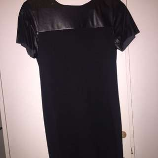 Mini Dress Black With Leather