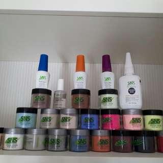 SNS 19 colors + full bottle gelous base56.6g .All kit in picture $200