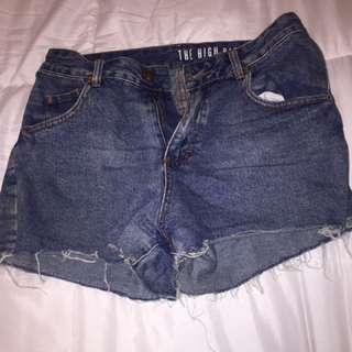 Blue Denim Mini Shorts High Waisted