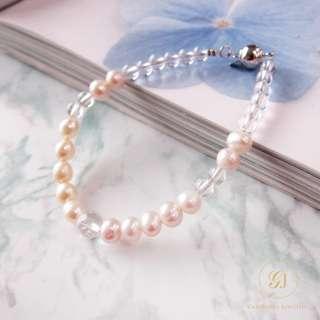 Gemdealler Jewellery 晉佳珠寶 天然珍珠白水晶手鏈/手鍊 秀氣質感氣質古典女孩夢幻 GJ1736