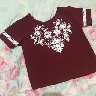 Maroon semi-crop blouse