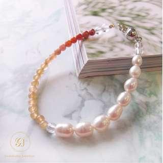 Gemdealler Jewellery 晉佳珠寶 天然珍珠碧璽白水晶手鏈/手鍊/手環 串珠水晶寶石改運風水能量脈輪 GJ1746