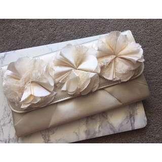 Forever New Cream Trio Carnation Flower Clutch Bag Handbag Wallet