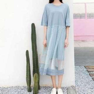 網紗蕾絲鏤空棉麻洋 水藍