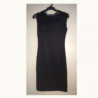 Black Dress with Lace Accent