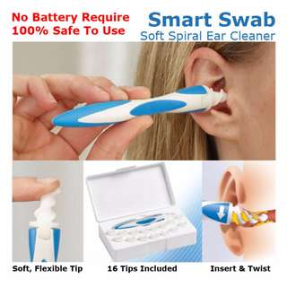 HFA0063BL - BRAND NEW SMART SWAB 100% Safe / Comfort Earpick / No Battery Ear Wax Cleaner Easy Remover Soft Spiral Tip (As seen on TV)