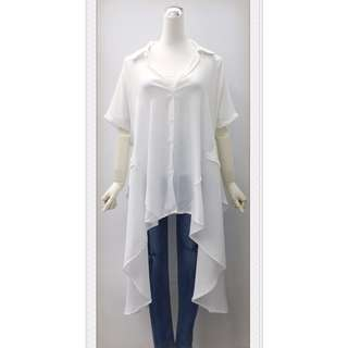 017S282 - 後雙層設計前短後長長版雪紡襯衫