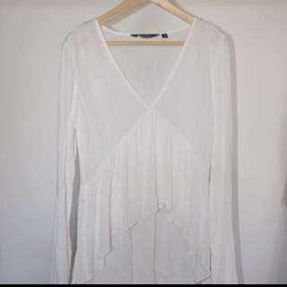 Glassons White Flowy Longsleeved Top