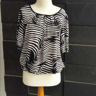 Zebra Pattern B&W Blouse