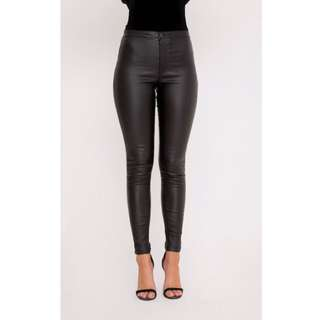 Pretty Little Thing Black Leather Look Pants