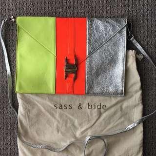 Sass & Bide tri-tone leather clutch