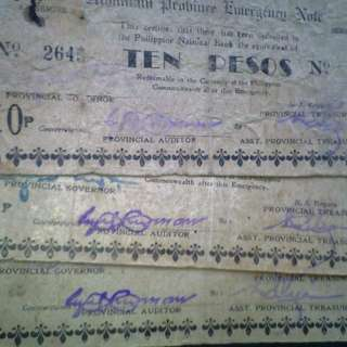 WW2 Mountain Province Emergency Bills Ten Pesos