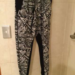 Patterned Black And White Pants