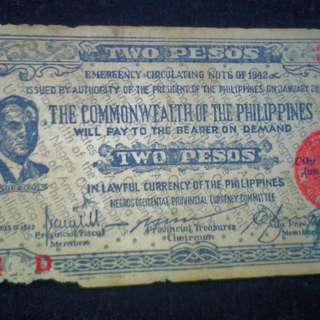 1942 WW2 Commonwealth 2 Pesos Emergency Bill