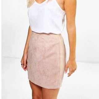 BOOHOO Suede Pink Skirt