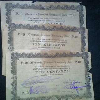 WW2 Mountain Province Ten Centavos Emergency Bills