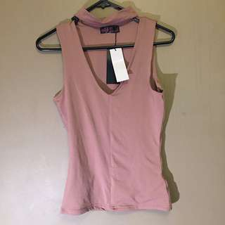 Nudie Pink Top With Choker - Size 6