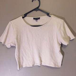Topshop Crop Tshirt - Light Beige