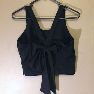 Bow Black Top - Size 8