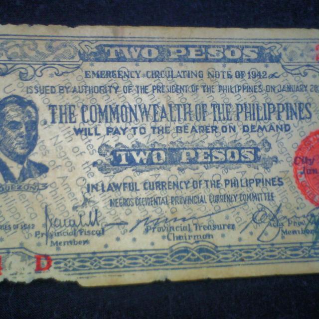 1942 WW2 Commonwealth 2 Pesos Emergency Bill