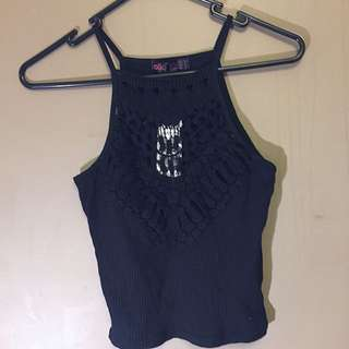 Lacey Front Crop Top - Size 8