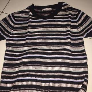PULL AND BEAR STRETCHY STRIPES CROP TOP