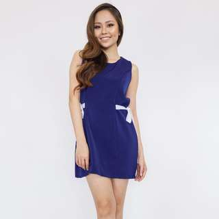 Ribbon Side Shift Dress - Blue