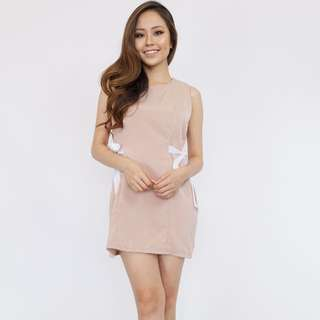 Ribbon Side Shift Dress - Blush