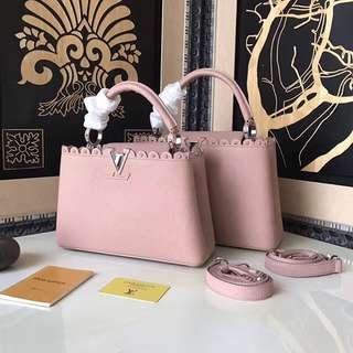 Louis Vuitton Taurillon Leather Capucines PM Pink M48864