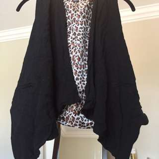 Black And animal Print Vest