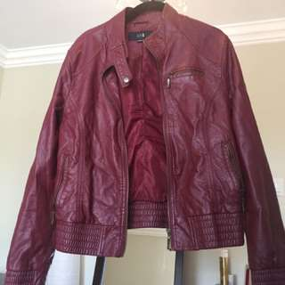 Burgundy Faux Leather Jacket