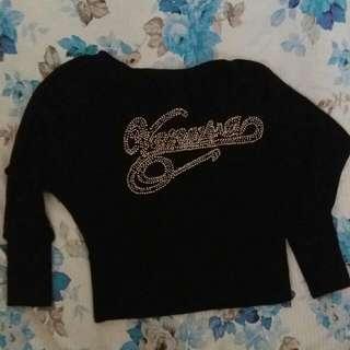 Knitted Crop Top (Hitam)