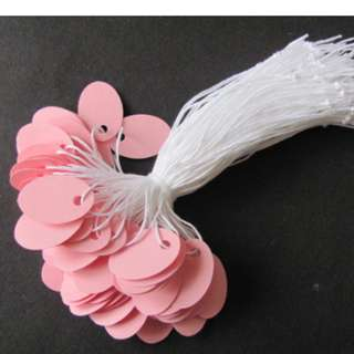 Mini Oval Gift Jewelry Hang Tags w/ KNOTTED String - Pink