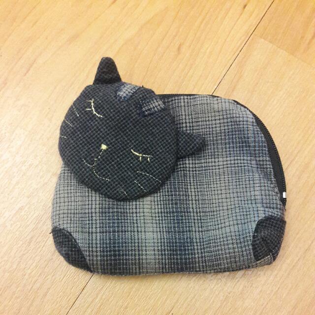 [可換物。可直購]手工日本帶回黑色貓咪零錢包